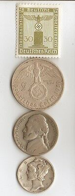 #-2-)-6-antique *WW2 -SILVER,   and  STEEL   - *us  and - *german coins/stamps+