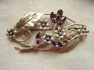 Vintage Sterling Silver Pin Brooch Large With Florals & Stones