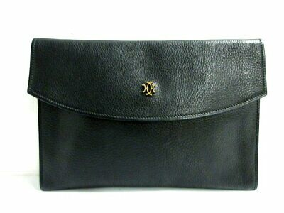 Auth HERMES Black Taurillon Clemence Circle M Clutch Bag