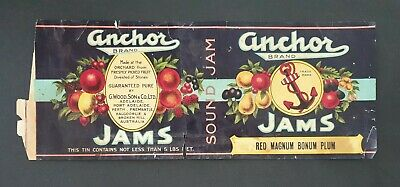Anchor Brand 5Lbs Net. Vintage Jar Label - Sound Jam Red Magnum Bonum Plum