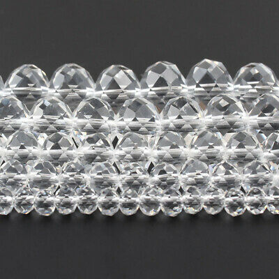 Wholesale Faceted White Glass Crystal Rondelle Spacer Beads 4 6 8 10 12 mm 15''