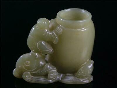 Fine Old Chinese Celadon Nephrite Jade Carved Brush Pot Style Statue FAIRY BOYS