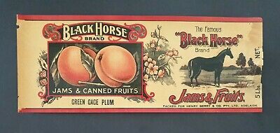 Black Horse Brand 5Lbs.net Vintage Jar Label Jams & Canned Fruit Green Gage Plum