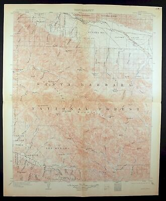 1905 Santa Ynez California Santa Barbara Goleta Rare Antique USGS Topo Map