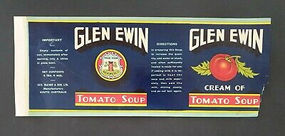 Glen Ewin Net Contents 4 Lbs. 4 Ozs. Vintage Jar Label Cream Of Tomato Soup