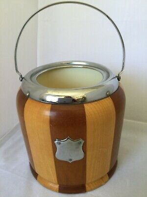 Vintage Retro Two Tone Mixed Wood Chrome Biscuit Barrel Ice Bucket