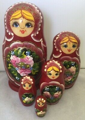Traditional Babushka 5 Doll Russian Stacking Nesting Dolls Wood Burgundy Floral