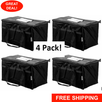 "4 Pack Insulated Food Delivery Bag / Pan Carrier, Black Nylon, 23"" x 13"" x 15"""