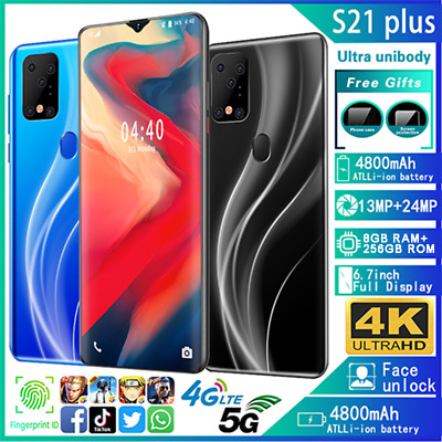 NEW  Upgrade 6.7'' S21 Plus Screen 8+256G Android 10.0 Face Unlock Smart Phone
