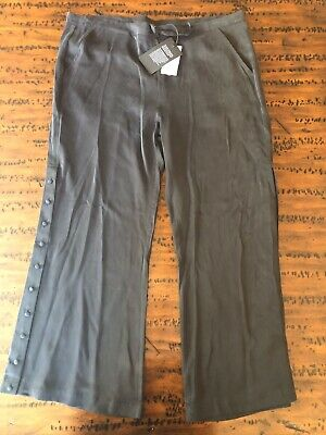Women's CHASER NWT Black Wide Leg Silk Pants SZ L $128.00