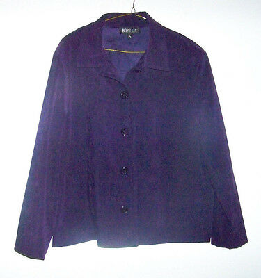 Womens Briggs of New York Purple Blazer Size Petite Large Brushed Suede EUC!!!