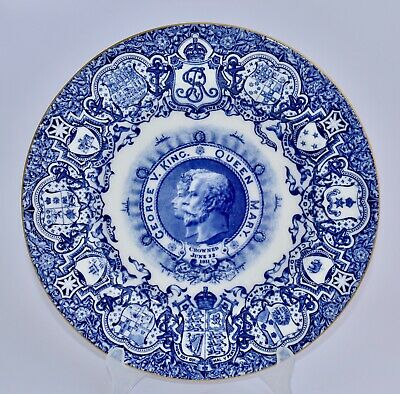 Coalport KING GEORGE V & QUEEN MARY Coronation 1911 Blue & White Plate 26cm