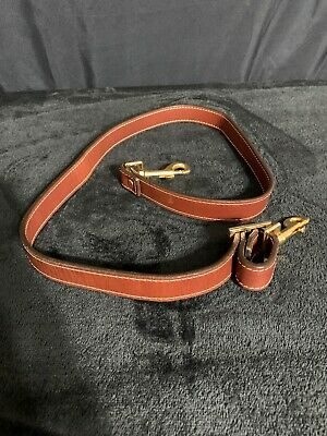 Hartmann Belting Brown Leather Replacement Luggage / Briefcase Strap W/ Gold Vgc