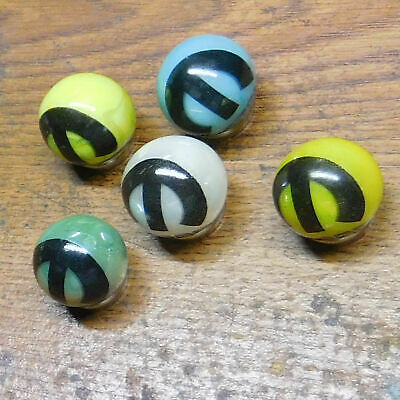 """Mopar LOT OF 5 Glass Advertising Marbles 1"""" Shooters"""