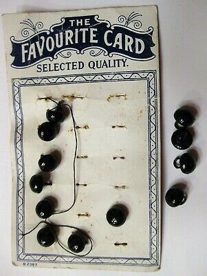 """12 Antique Vintage Black Boot Buttons, size: 9mm (3/8"""") Animal Eyes, Bears"""