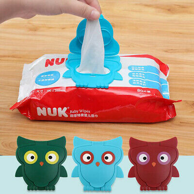 1PC Portable Paper Wipes Lid Baby Wet Wipe Cover Reusable Owl Tissues Wet  XE