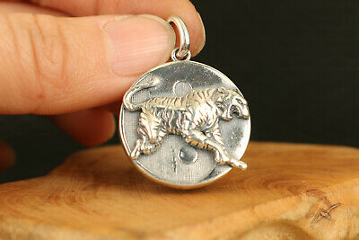 old chinese 100%925 solid silver tiger Statue pendant amulet netsuke collectable