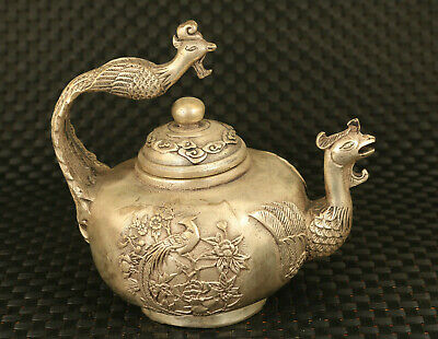 unique Chinese old copper Handcarved phoenix statue teapot table decorate