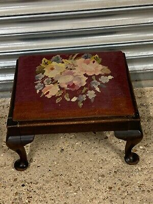 Small 19th Century Footstool With Queen Anne Style Legs