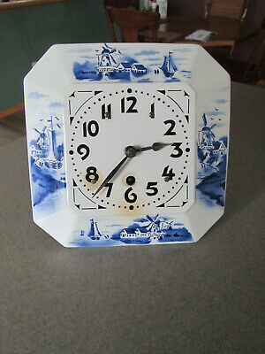 "Vintage 30""s Porcelain Delft Blue & White Face 8 Day Wall Clock"