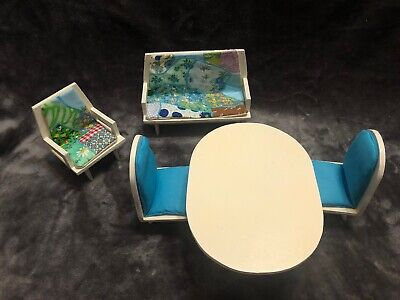 Vintage Barbie Size Doll Patio Furniture Table Chairs Couch Mod Handmade? Wooden