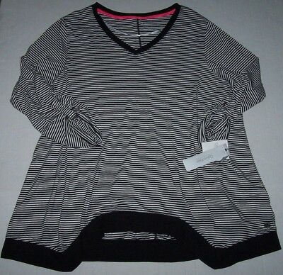 NWT Calvin Klein Performance Black/White Stripes FUNKY HEM Tunic Top 3X STRETCH