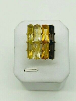 Large Multi-Gemstone Ring - 14K Yellow Gold-Excellent Condition