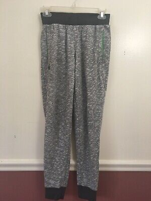 Adidas Jogger Sweatpants Lounge Womans XSmall Gray Marled Pattern w Green B2