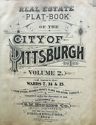 1923 G.m. Hopkins Vol. 2 City Of Pittsburgh Pennsylvania Title Page Atlas Map