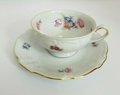 Winterling Bavaria Germany Porcelain Small Tea Cup With Saucer Gold Trimmed