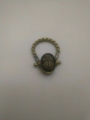 RARE ANTIQUE ANCIENT EGYPTIAN Gold Faience Scarab Beetle Amulet Ring 300 Bc