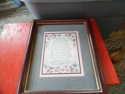 "Home Interiors ""To my Friend""  framed poem print  12"" x 9"""