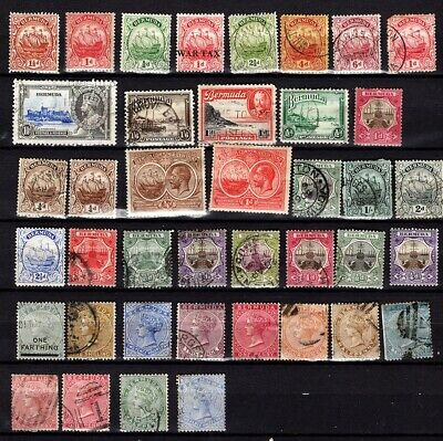 Vintage BERMUDA collection. 40 Old stamps on stock card. Good condition.