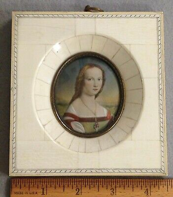 Antique Miniature Of Young Woman Framed  Ivory Oil Portrait