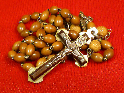Rare Ww1 Antique French Rosary Ebony / Sterling Crucifix Hand Carved Wood Beads