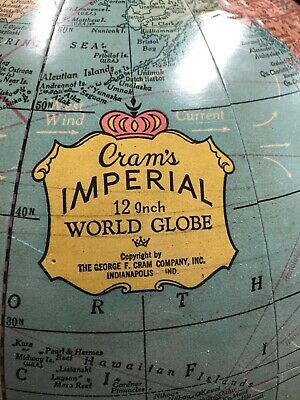 "Vintage The World Almanac Globe 12"",  1960's George F. Cram Co Indianapolis IN"