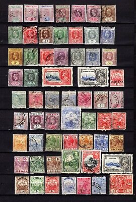 Vintage BRITISH CARIBBEAN. 60 Old stamps on a stock card. Good condition.