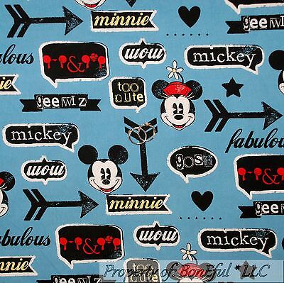 BonEful Fabric Cotton Quilt Blue Red White Retro Baby Mickey Mouse Disney SCRAP