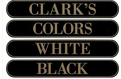 CLARK/'S SPOOL CABINET DECAL 6 PIECE SET GOLD LETTERS with BLACK SHADOW.