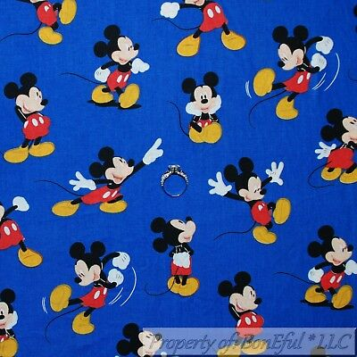 BonEful FABRIC Cotton Quilt B&W Red White Disney Mickey Mouse Baby US SALE SCRAP
