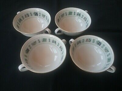 Lot of 4 ROYAL DOULTON Tapestry Double Handled Cream Soup Bowls & Saucers