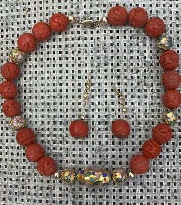 Antique Chinese Carved Faux Cinnabar & Cloisonné Bead Necklace & Earrings