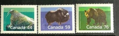 CANADA 1989 #s 1171, 1174, 1178 MAMMAL MEDIUM VALUE DEFINITIVE SINGLE STAMPS MNH