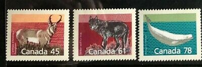 CANADA 1990 #s 1172, 1175, 1179 MAMMAL MEDIUM VALUE DEFINITIVE SINGLE STAMPS MNH