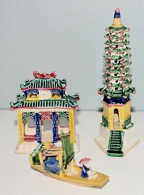 Vintage Miniature Chinese Temple Tree Boat Emperor Statue Figures