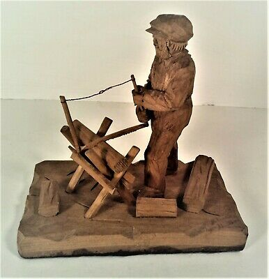 vintage folk art hand carved figure sawing wood,signed by Helene Gauthier,