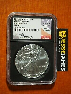 2020 (W) Silver Eagle Ngc Ms70 Mercanti Signed First Day Of Issue Fdi Label