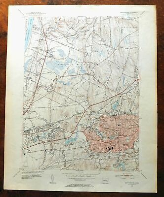 Manchester Connecticut Vintage USGS Topo Map 1952 East Hartford Topographic