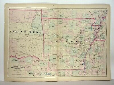 1872 ASHER & ADAMS ATLAS MAP of ARKANSAS WITH 4 GAZETTEER PAGES
