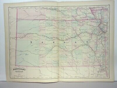 1872 ASHER & ADAMS ATLAS MAP of KANSAS WITH 4 GAZETTEER PAGES